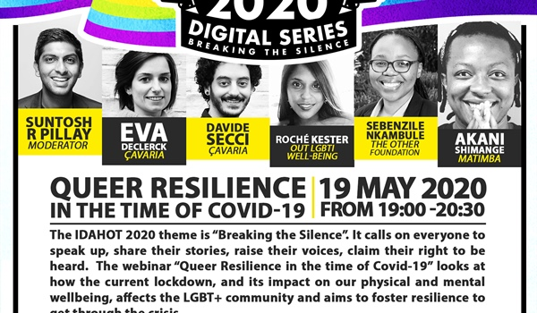 "IDAHOT Digital Series webinar on ""Queer Resilience in the time of Covid-19"""